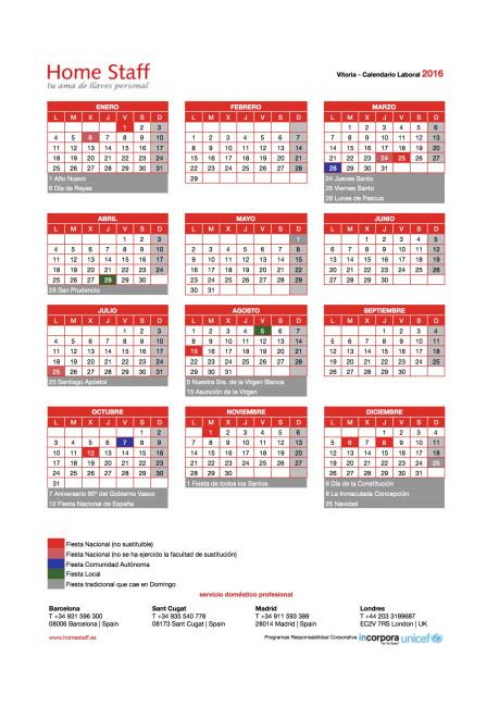 calendario laboral 2016 Vitoria-Gasteiz Empleadas Hogar