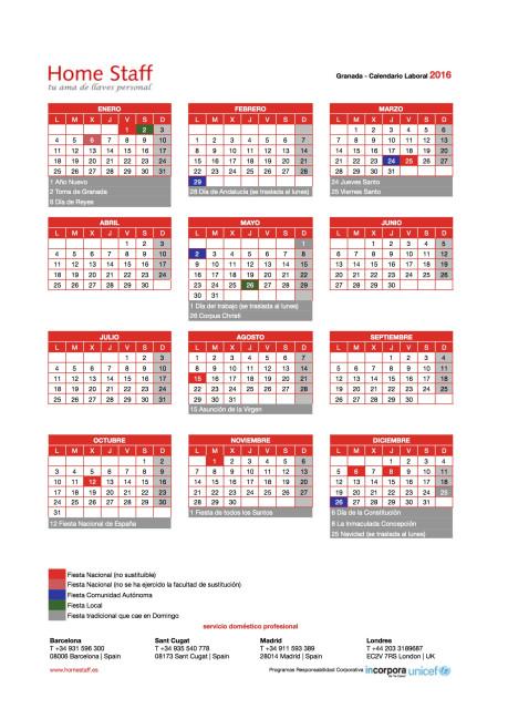 calendario laboral 2016 Granada Empleadas Hogar