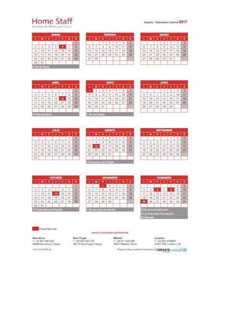 calendario laboral 2019 España Empleadas Hogar