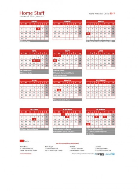 calendario laboral 2017 Madrid Empleadas Hogar