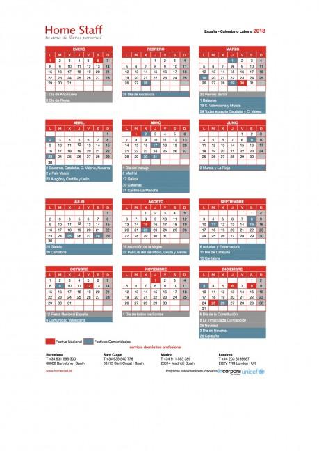 calendario laboral 2018 España Empleadas Hogar