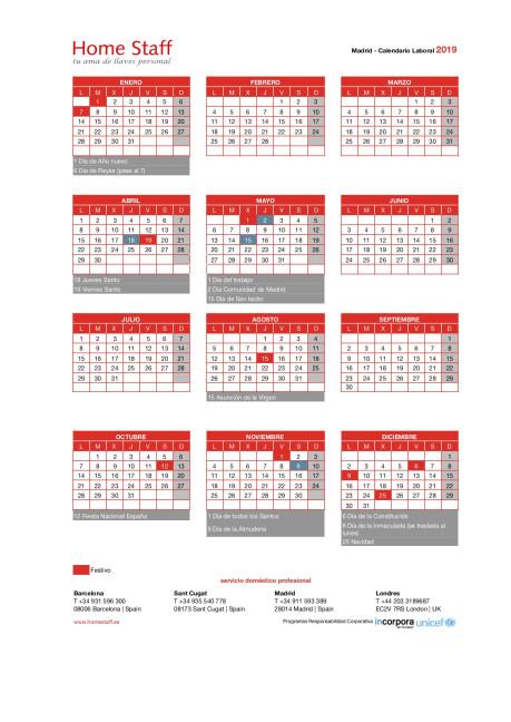 calendario laboral 2019 Madrid Empleadas Hogar