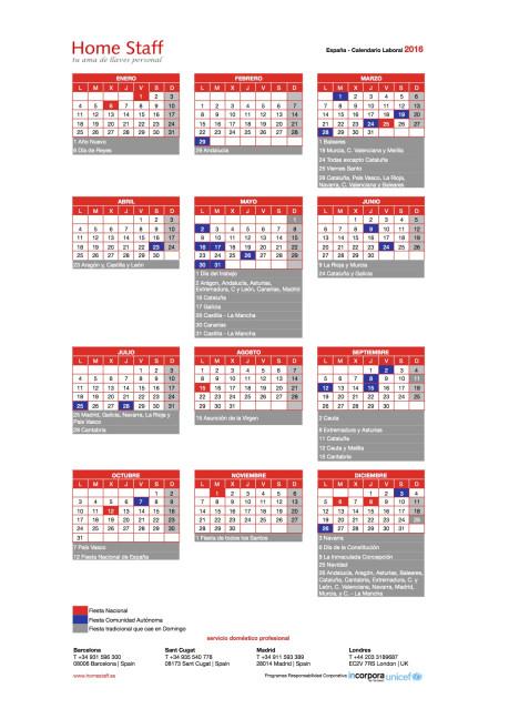 calendario laboral 2016 España Empleadas Hogar