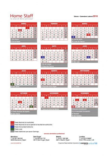 calendario laboral 2016 Girona Empleadas Hogar