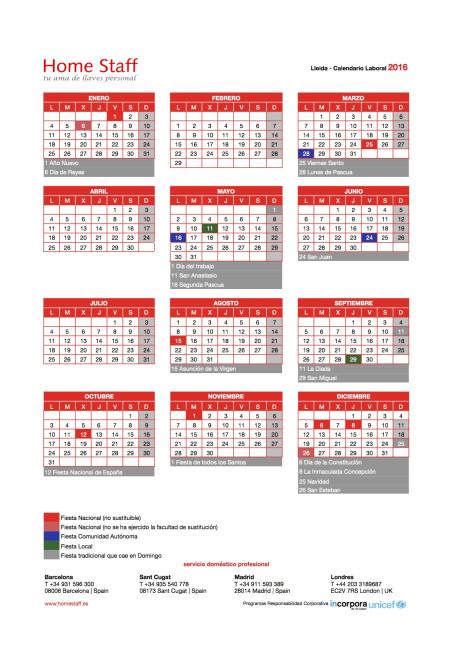 calendario laboral 2016 Lleida Empleadas Hogar