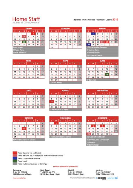 calendario laboral 2016 Baleares-Palma Mallorca Empleadas Hogar