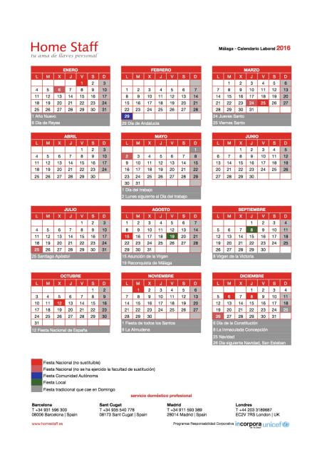 calendario laboral 2016 Málaga - Marbella Empleadas Hogar